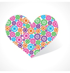 Group of gear make a heart vector image