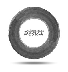 Hand drawn watercolor dark gray circle design elem vector image vector image