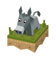 isometric flat donkey on ground tile vector image vector image