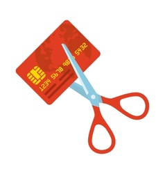 Red credit card and scissors vector image