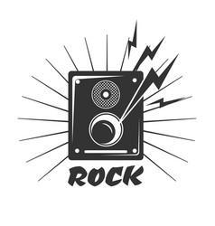 rock music loud speaker logo in black and white vector image
