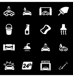 white car wash icon set vector image