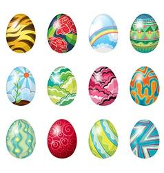 A dozen of colorful easter eggs vector image