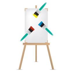 easel and paint brush vector image vector image