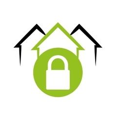 home security system emblem lock vector image