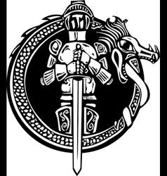 Knight in Dragon Circle vector image vector image