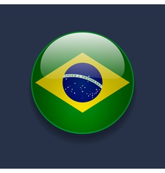 Round icon with flag of Brazil vector image vector image
