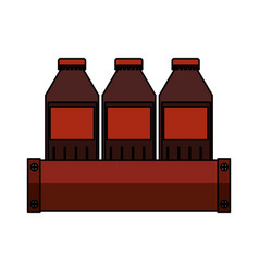 Soda bottles in basket isolated icon vector