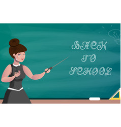 teacher on the background of a school board vector image vector image