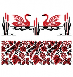 Ukrainian embroidery swans and nightingales vector image vector image