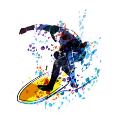 watercolor silhouette surfer vector image