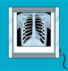 xray chest in negatoscope pop art vector image vector image