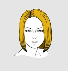 Face of woman with medium long hair vector image vector image