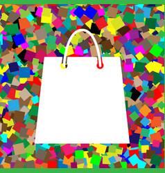 shopping bag white icon on vector image