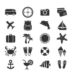 summer vacation or travel icons collection vector image