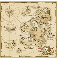 Treasure island map in hand drawn style vector image vector image