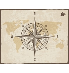 Vintage nautical compass old world map on vector