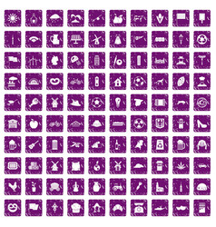 100 mill icons set grunge purple vector