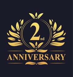 2nd anniversary logo 2 years anniversary design vector
