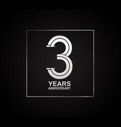 3 years anniversary logotype with cross hatch vector