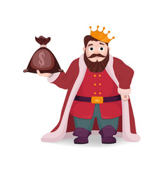 a king with a bag of money in his hand vector image