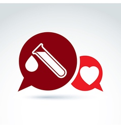 A red heart symbol and test tube with b vector
