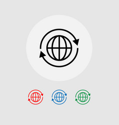 A set of global icons with arrows around vector