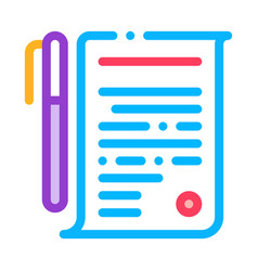 agreement pen icon outline vector image