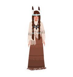 American indian woman with braids wearing vector