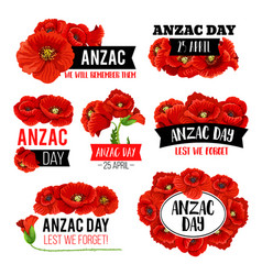 Anzac day poppy flower memorial card design vector