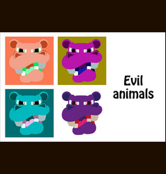Assembly of flat icons on theme evil animals hippo vector