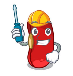 automotive red beans pile isolated on mascot vector image
