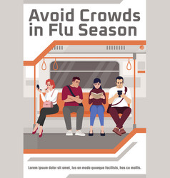 Avoid crowds in flu season poster template vector