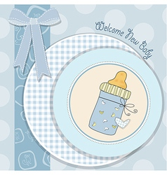 baby shower card with bottle milk vector image