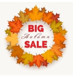 Big autumn sale wreath label vector