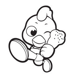 Black and white happy chicken mascot goes up like vector