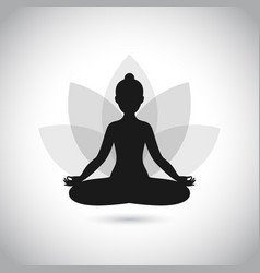 black and white yoga icon vector image