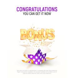 Bonus word flying from purple gift box on white vector