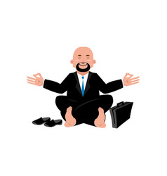 Business yoga businessman meditating isolated vector