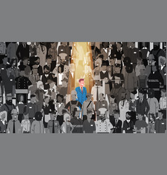 businessman leader stand out from crowd individual vector image