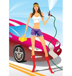 Car wash with fashion model vector image