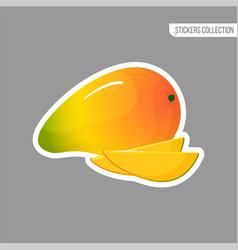 cartoon fresh mango isolated sticker vector image