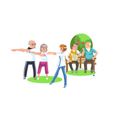 cartoon image of people in suits doing exercises vector image