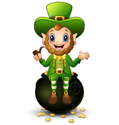 cartoon leprechaun sitting on pot of gold vector image