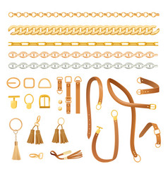 Chains and belts fashion elements set fashionable vector