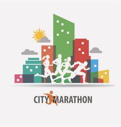 city marathon stylized background running people vector image