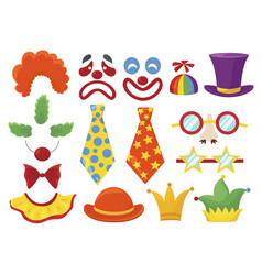 clown props set funny colorful booth elements vector image