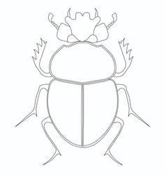coloring egyptian scarab beetle vector image