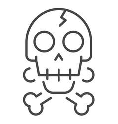 crack skull bone icon outline style vector image