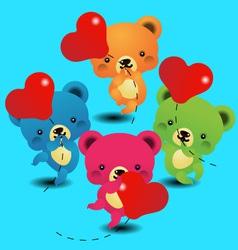 cute bears keeps the balloon vector image
